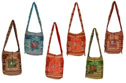 10 Cotton Ethnic Embroidered Elephant Mirror Work Style Tote