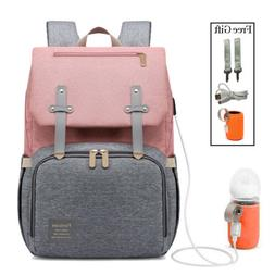 Baby Diaper Bag Backpack USB Interface Large Capacity Waterp