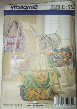 SIMPLICITY 2713 SEWING PATTERN DIAPER BAGS, TOTE, or UTILITY