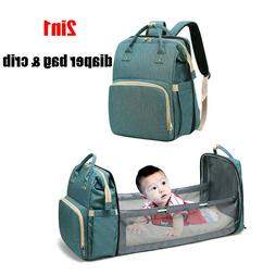 2in1 Diaper Bag Backpack Portable Nappy Bag& Baby Crib for M