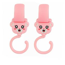 2x Pink Clip Hooks for GRACO Baby Strollers Hang Shopping Di