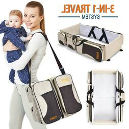 Large Capacity Diaper Tote Bag Portable Travel Bassinet and