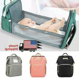 3 in 1 Foldable Mommy Baby Diaper Bag Travel Sleep Bed Porta