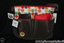 Graco 3 pc Animal Friends Diaper Bag Set brown red new