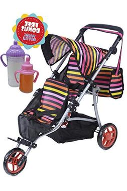 Exquisite Buggy Twin Jogger DOLL Stroller with Diaper Bag an