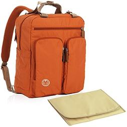 KF Baby MAS Travel Backpack Diaper Bag, Orange + Changing Pa