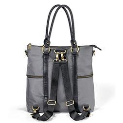 Newlie Louise Backpack Diaper Bag, Gray/Black