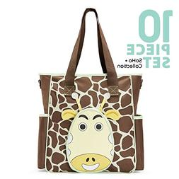 SoHo diaper bag Gavin the Giraffe 10 pcs nappy tote travel b