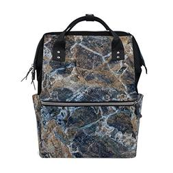 ALAZA Abstract Gray Marble Fashion Diaper Bags Mummy Backpac