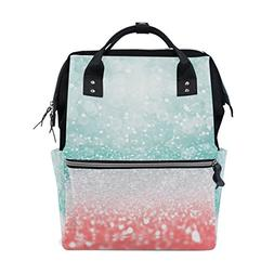 ALAZA Abstract Green Pink Sparkle Diaper Bags Mummy Backpack