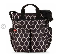 Skip Hop Baby Duo Signature Diaper Bag, Onyx Tile, Black Wit