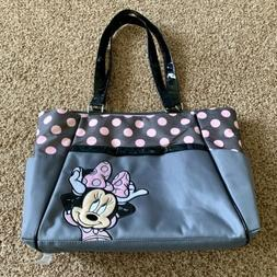 Disney Baby Minnie Mouse Appliqued Large Gray/Pink Polka Dot