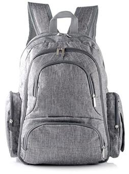 Stylish Travel Backpack Diaper Bag w/Free Insulated Sleeve,