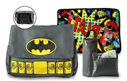 Batman Diaper Bag and Changing Pad with Detachable Bottle Po