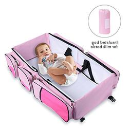 Baabyoo Baby Travel Bed and Bag Baby Diaper Bag Portable Bab