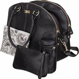Isoki Madame Polly Baby Diaper Bag | Large Black Pack for yo