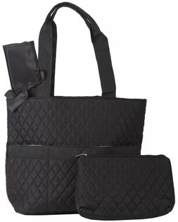 Black Quilted Diaper Bag Tote Purse Handbag with Change Chan