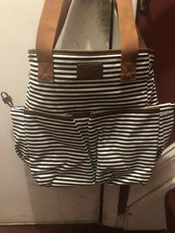 black white striped medium diaper bag