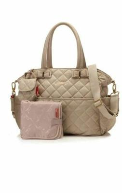 Storksak Bobby Quilted Cappuccino Nappy Diaper Bag & Baby Ch