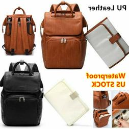 Brown Faux Leather PU Mummy Diaper Backpack Baby Nappy Trave