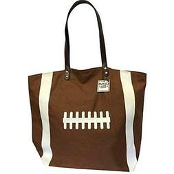 Brown Football Canvas Tote Bag Handbag Large Oversize Sports