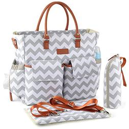 Kattee Chevron Diaper Bag Baby Nappy Tote Bag with Changing