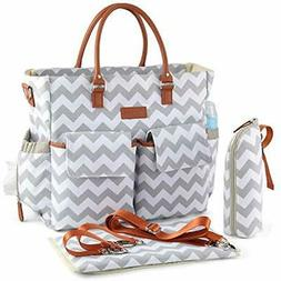 Chevron Diaper Bag, Waterproof Bags Nappy Travel Tote With C