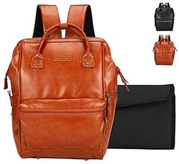 Classic Faux Leather Baby Diaper Bag Backpack, Unisex Wide O
