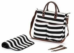 Classic Striped Black and White Cotton Diaper Bag including
