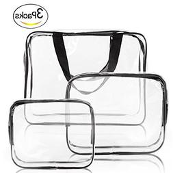 Clear Makeup Bags, YOPO 3 Pack Travel Toiletry Cosmetic Bag