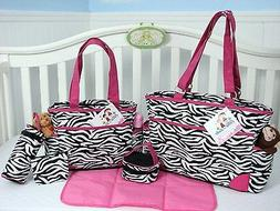 SoHo Collection, Pink Zebra 6 pieces Diaper Bag set *Limited