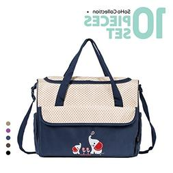 SoHo diaper bag Royal Navy with Elephant 10 pieces set nappy