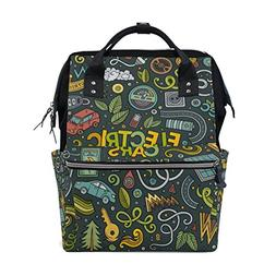 ALAZA Colorful Electric Car Doodle Diaper Bags Mummy Backpac