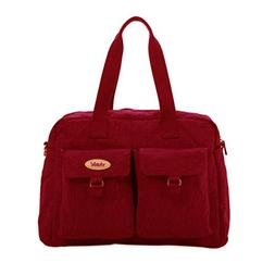 LuxJa Women's Large Cotton Diaper Bag Red