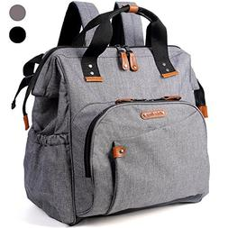 Diaper Bag Backpack, Wide Open Large Travel Bags with Stroll