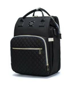 Diaper Bag Backpack Black Quilted Travel w/ Bassinet Baby Be