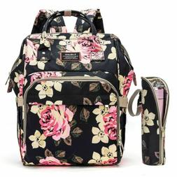 Diaper Bag Backpack Mummy Baby Nappy Bag W/Insulated Bottle
