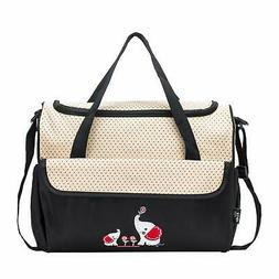 Diaper Bag 10 Pieces Collection Set Black With Elephant Stra