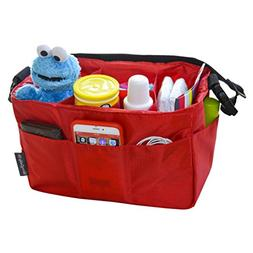 Diaper Bag Insert Organizer for Stylish Moms, Red,12 pockets