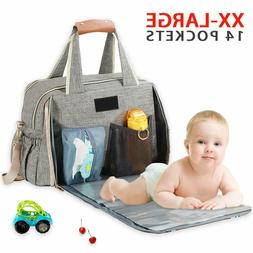 Diaper Bag Large Convertible Travel Baby Bag with Changing P