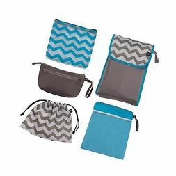 J.L. Childress Diaper Bag Organizer 5 Piece Set, Grey/Chevro