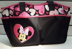 Diaper Bag Tote Large Disney Minnie Mouse Black Pink Hearts