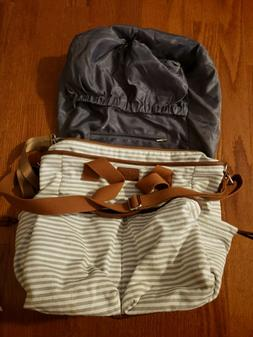 Hip Cub Diaper Bag Weekender Tote White Gray Striped w Match