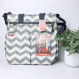 Skip Hop Diaper Bag With Changing Pad, Grey And Beige Chevro