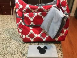 Disney Classic Carryall Minnie Mouse Diaper Bag Set With Cha