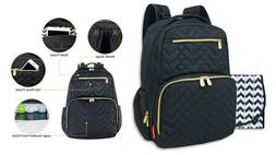Fisher - Price Morgan Quilted Diaper Backpack - Black - Bran
