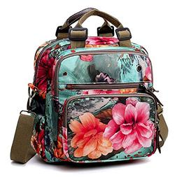 XMSS Floral Diaper Bag Cute Mommy Backpack Crossbody Baby Ba