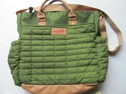 MAMAN green quilted designer diaper bag or messenger tote