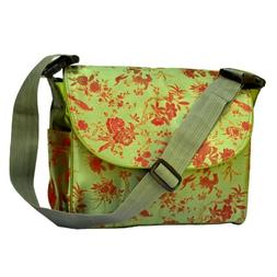 I Frogee Green-Red Multi Function Brocade Diaper Bag / Backp