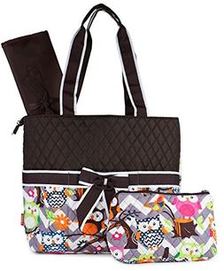 NGIL Grey Owl Print Quilted Diaper Bag